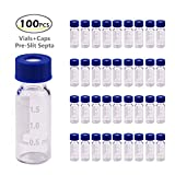 2ml HPLC Vial, Autosampler Vial, Alberts Filter Clear Lab Vial, Sample Vial with Writing Area, 9-425 Screw-Thread Vial, Blue Screw Cap with Hole, Pre-Slit Blue PTFE & White Silicone Septa 100 Pack