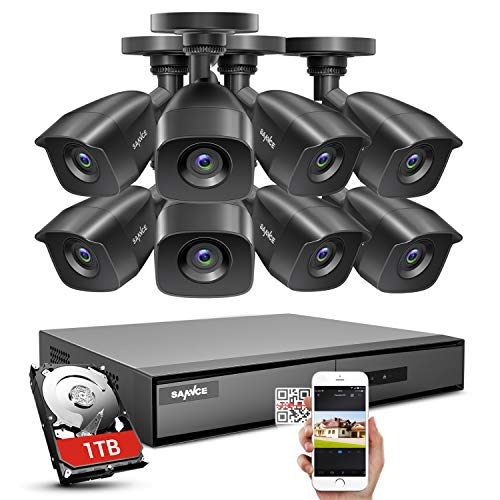 SANNCE 1080P Security Camera System 8CH Home DVR and 8X 1080P Outdoor Bullet Surveillance Cams, 1080P Realtime View, Motion Detection Alert, APP Push with Screenshot(1TB Hard Disk Include)