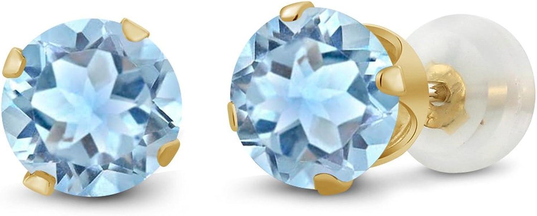 1.80 Ct Round 6mm Sky bluee Topaz 10K Yellow gold Stud Earrings