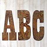 Farmhouse Rustic 8 Inch Flat Metal Letters And Numbers Wall Art Decor, Outdoor Country Rusted Steel Monogram...