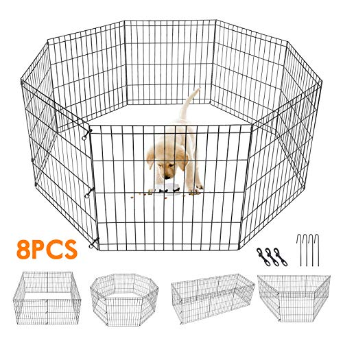 24-inch Dog Pen Exercise Pen Indoor & Outdoor Pet Fence Metal Foldable Playpen for Small Dogs...