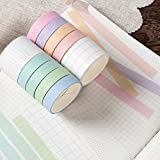 Washi Tape Set of 10 Rolls, Masking Decorative Macaron Paper Tape for Bullet Journal DIY Decor Planners Scrapbooking Party School Supplies Craft