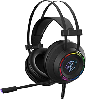 D DOLITY USB Cable Headphones with Microphone, Wired On Ear Stereo Bass Headsets for Computer, Comfortable Lightweight Adjustable with RGB Light - Black