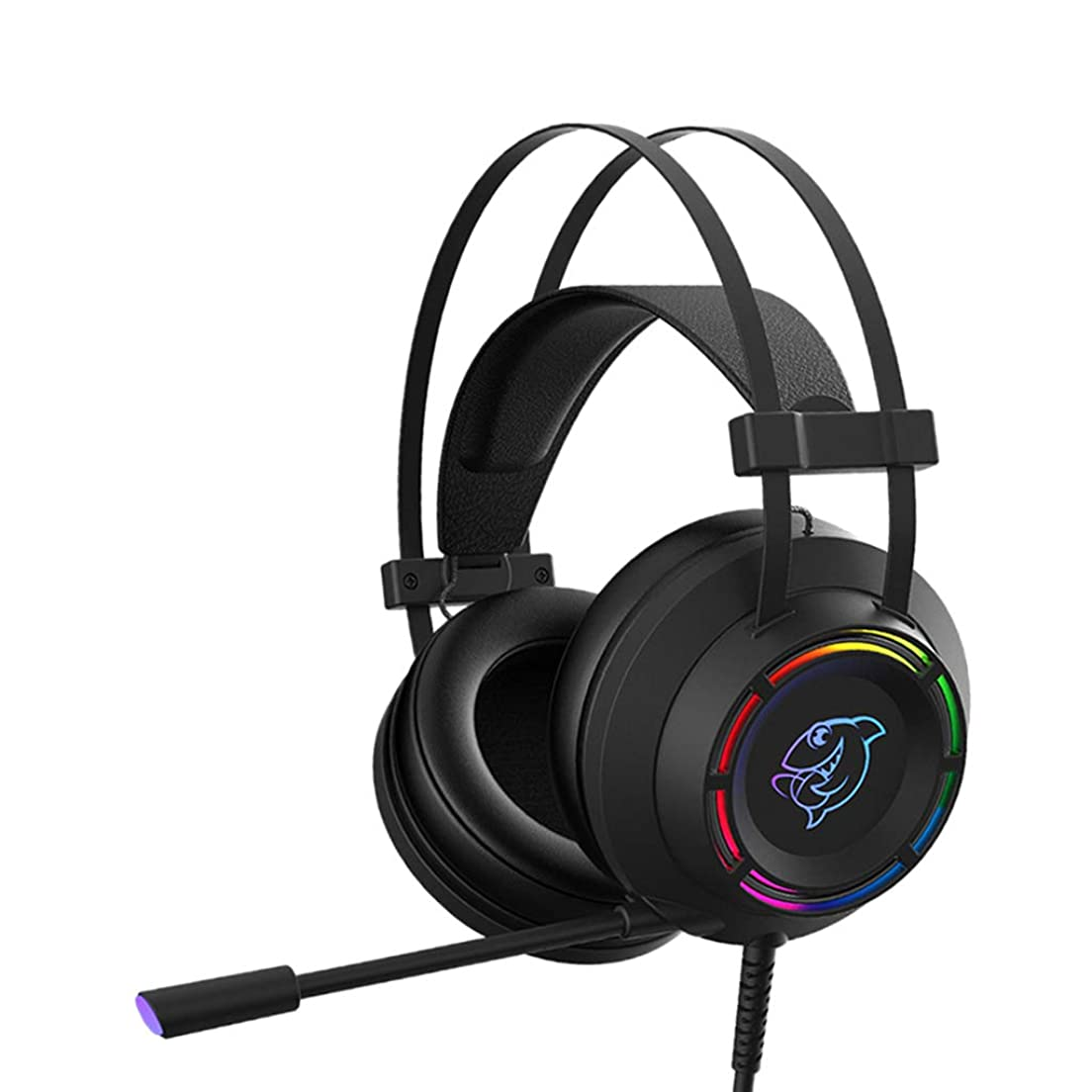 契約するジャグリングオペレーターD DOLITY 耳付きヘッドフォン マイク付き エレクトリック レースヘッドフォン USB有線 快適 - ブラック