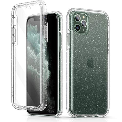 GVIEWIN Gloria Series Case Designed for iPhone 11 Pro Max 6.5', Glitter Clear Case with [Built-in Tempered Glass Screen Protector] Full-Body Drop Protection Shockproof Phone Cover Case (Glitter/Clear)