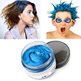 Blue Hair Color Wax, Natural Hairstyle Wax 4.23 oz, Temporary Hairstyle Cream for Party, Cosplay, Halloween, Daily use, Date, Clubbing (Blue)