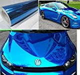 """DIYAH Gloss Chrome Mirror Vinyl Car Wrap Sticker with Air Release Bubble Free Anti-Wrinkle 12"""" X 60"""" (1 FT X 5FT) (Blue)"""