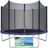 Trampoline for Kids 10FT Trampoline with Safety Enclosure Net Bounding Bed Spring Pad Ladder, Outdoor Trampoline Round Backyard Trampoline Exercise Gym Fitness Jumping Table for 3-4 Kids Adults