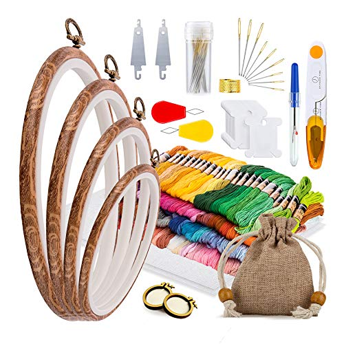 Embroidery Kit for Kids and Adults – Complete 160-piece Crossstitching Kits for Beginners – Fun Interactive Embroidery Family Kit with 100 Embroidery Thread Colors, Pendant Hoops and Tool Bag