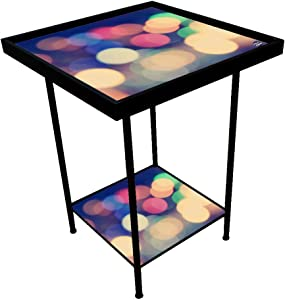 Nutcase Designer Metal Table Bedside Table, Indoor/Outdoor 2 Tray End Table for Bedroom, Garden, Patio, Balcony, Corner, Home, Office-Made in India - Lights