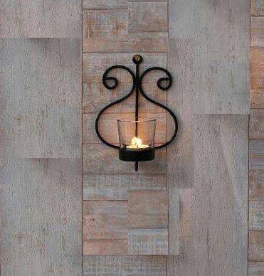 CraftVatika Schwarzer Teelichthalter aus Eisen zum Aufhängen | Wandkerzenhalter für Schlafzimmer, Hochzeit, Party-Dekoration