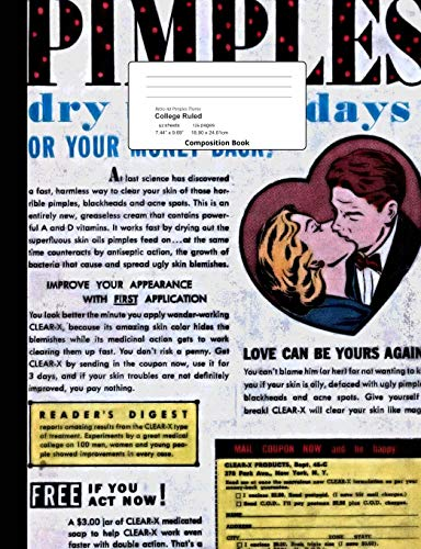 Retro Ad Pimples Theme College Ruled Composition Book: Vintage Hygiene Ad Cover Lined Bound Paper Notebook