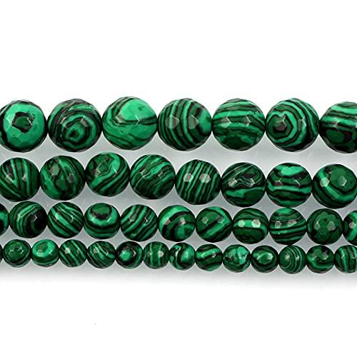 Perlas de piedra natural para la fabricación de joyas Lapislazuli Amatista Folletos Accesorios de pulsera redonda Hecho a mano 4-12mm-malaquita_12mm unos 30pcs