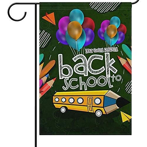 qinzuisp Vlag Tuin Vlaggen Dubbele Zijde Terug Naar School Tuin Yard Vlag Potlood Bus Ballon Vier Schoolbenodigdheden Dagen Huis Outdoor Vlag Voor Welkom Terug Home Decoraties 32X48Cm