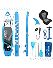 Bluefin Cruise SUP-boardset, opblaasbaar stand-up paddleboard, 6 inch dik, glasvezel peddel, kajakzitting, complete accessoires
