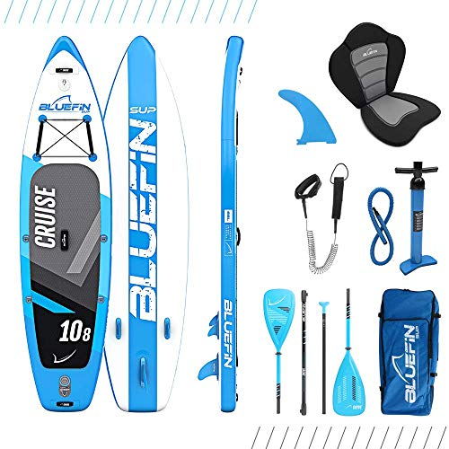 "Bluefin SUP Stand Up Inflatable Paddle Board with Kayak Conversion Kit | Ultimate iSUP Kayak Bundle (Blue 10'8"")"