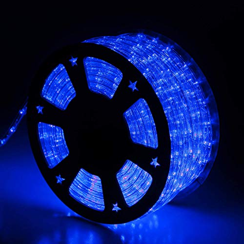 Buyagn 150Ft LED Rope Lights,Cuttable & Connectable LED Rope Lights Outdoor Waterproof Decorative Lighting for Indoor/Outdoor,Eaves,Backyards Garden,Party and Bedroom Decorations(Blue)