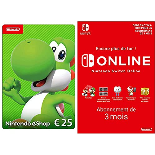 Carte Nintendo eShop 25 EUR (Code de téléchargement) + Nintendo Switch Online - Abonnement 3 Mois (Code de téléchargement)