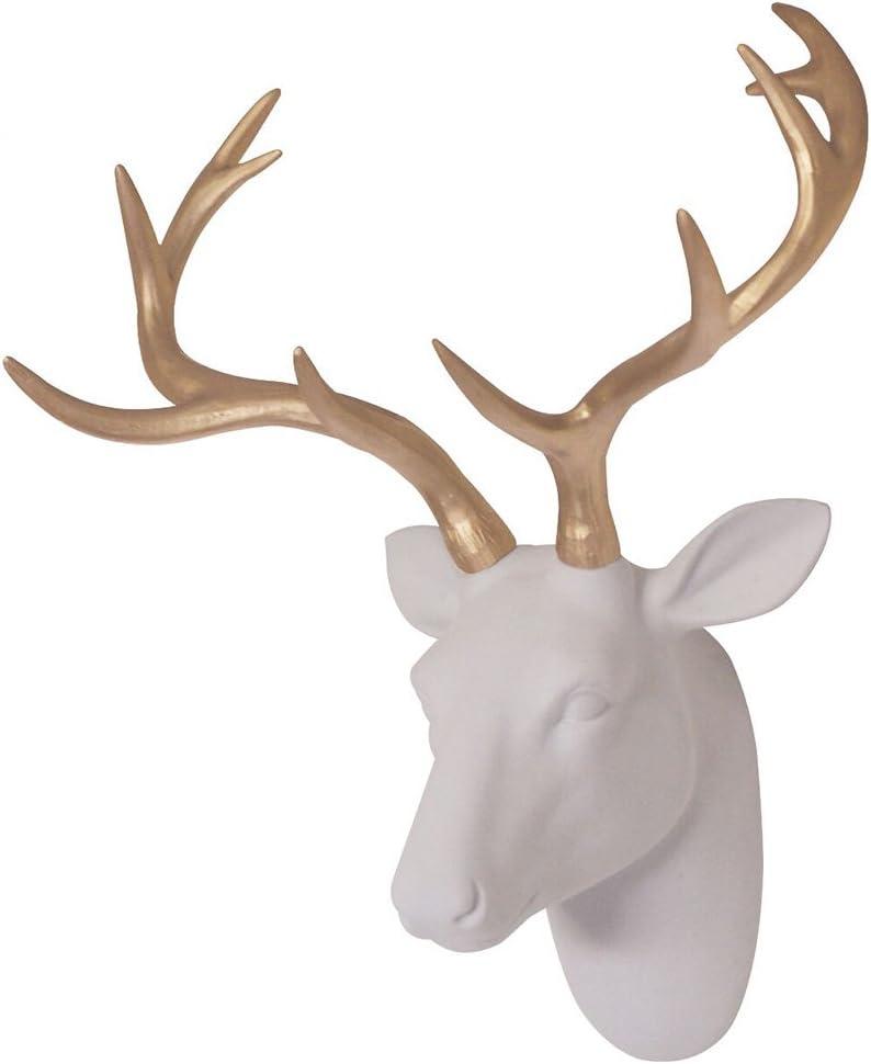 Faux Deer Head Wall Decor White Furry D Velvety It is very popular Fake Resin Felt Ultra-Cheap Deals