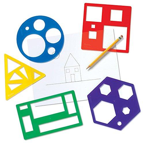 Learning Resources- Set de Plantillas con Formas geométricas de Primaria, Color (LER5440)