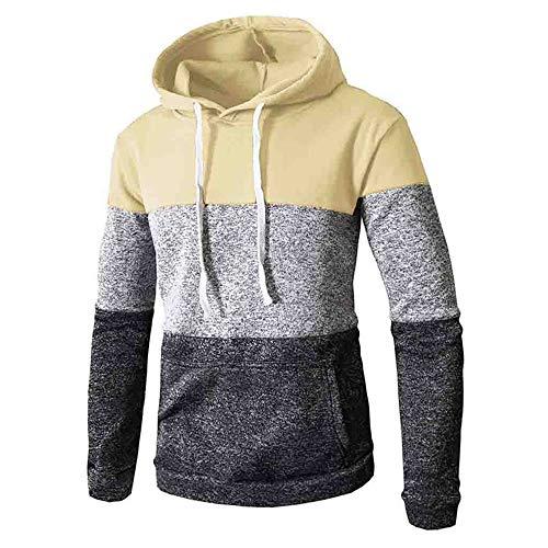 Aiserkly Herren Patchwork Winter Kapuzen-Sweatshirt Langarm Slim Pocket Fit Hoodies Bluse Tops Unterhemd Kapuzenpullover Thermische Pullover Pulli Outwear Sweater Gelb L