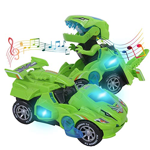 Transformers Toys for 3-6 Year Old Boys Dinosaur Toys with LED Light and Music Dinosaur Car Gifts for 4 5 6 7 Year Olds (Green) by huwairen