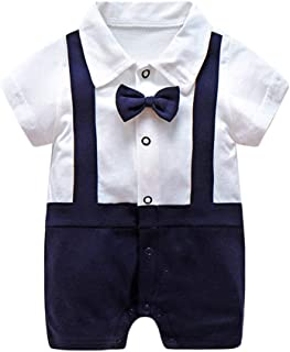 Infant Newborn Baby Boys Gentleman Summer Short Sleeve Cotton Rompers Small Suit Bodysuit Outfit with Bow Tie