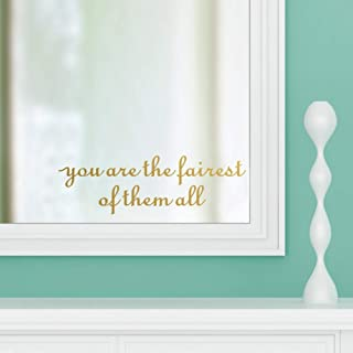 IARTTOP You are The Fairest of Them All Vinyl Decal Inspirational Beauty Quotes Sticker Removable Mirror Saying Wall Art Decor, Gold