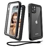 Beeasy iPhone 11 Pro Hülle,360 Grad Schutzhülle,Wasserdicht Handyhülle,Stoßfest Staubdicht und Schneefest Outdoor Case mit Eingebautem Displayschutz (Schwarz+Grau)