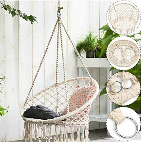 Safe Beige Hanging Hammock Chair Swing Rope,Outdoor Indoor Bar Garden Seat Hammock Swing Chair,for Children Hanging Chair