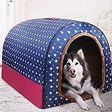 L.TSA Cama para Mascotas, Suave, para Perros, Gatos, casa para Mascotas, Plegable y Lavable, para Interiores, para Perros, 5 tamaños, Puntos, Cama para Mascotas, Azul (tamaño: L)