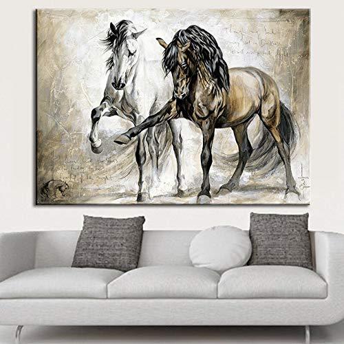 N / A Retro-Plakat Moderne Leinwand Wandkunst Leinwand Bild und Wohnzimmer Hauptdekoration Pferd Wand rahmenlose Malerei 60cmX90cm