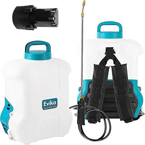 EVIKA Akku Drucksprüher 16 Liter inkl. Li-Ion Batterie und Ladegerät, für Garten/Weingut/Rasen, Rückenspritze Akku mit 110cm Teleskop-Sprühlanze, Unkrautspritze mit Messingdüse