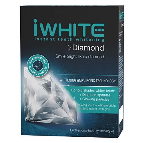 iWhite Diamond Kit de blanqueamiento dental instantáneo - Tecnología de amplificación de blanqueamiento - Hasta 8 tonos más blancos - 10 bandejas precargadas - Blanqueamiento dental profesional