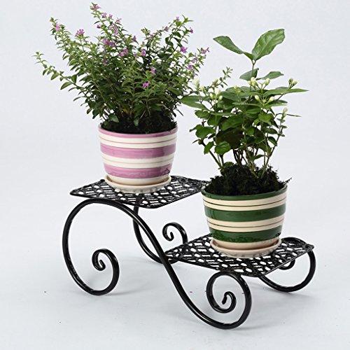 CKH Corbeille à Fleurs en Fer forgé Balcon européen Multi-Couche de Plancher de Type Plante à l'intérieur de la Fleur Stand Vert Planter Rack 2 (Color : Black)