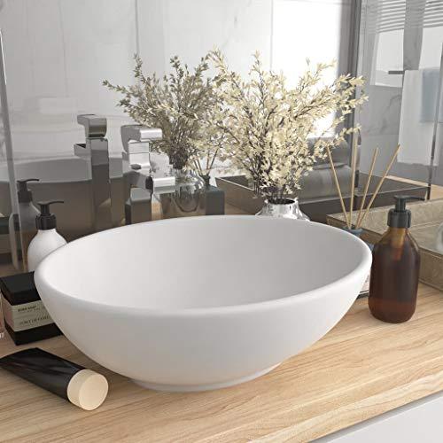 UnfadeMemory Lavabo de Baño de Cerámica Ovalado,Lavabo sobre Encimera,Diseño, Mueble,400x330x135mm (Blanco Mate)