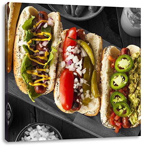 heerlijke hot dogsCanvas Foto Plein | Maat: 60x60 cm | Wanddecoraties | Kunstdruk | Volledig gemonteerd