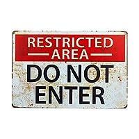 制限区域は壁に入れないでください金属ポスターレトロプラーク警告ブリキサインヴィンテージ鉄絵画装飾オフィスの寝室のリビングルームクラブのための面白いハンギングクラフト