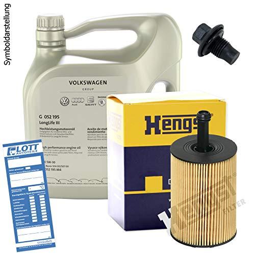 Ölwechsel Set Inspektion 5 Liter Original VAG Motoröl 5W-30 Motorenöl + HENGST Ölfilter + Öl Ablassschraube Verschlussschraube