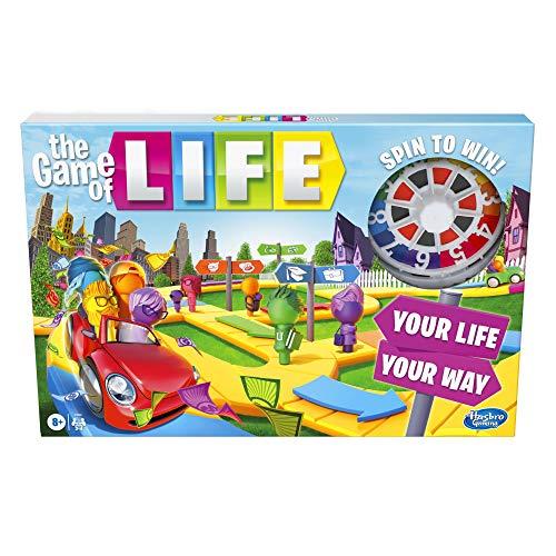 Das Spiel des Lebens Spiel, Familien-Brettspiel für 2 bis 4 Spieler, für Kinder ab 8 Jahren, inkl. bunten Wäscheklammern