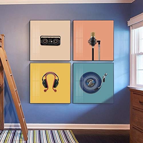 Decoración de Color Moderna Elementos Musicales Imagen de Arte de Pared Micrófono Radio Lienzo Pintura Carteles e Impresiones Decoración del hogar 30x30cmx4 Sin Marco
