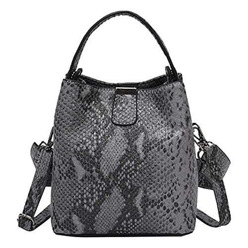 MEGAUK Damen Schlange Optik Umhängetasche Handtasche Beuteltasche Bucket Bag Schultertasche Henkeltasche mit Breit Taschengurt (Grau)
