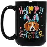 ZEN DEAL - Happy Easter Day Colorful Dye Egg Hunting Cute Black Mug, 15oz