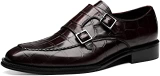 Mens Monk Shoes,Classic Business Leather Shoes Hasp Wedding Dress Shoes,Brown- 39/UK 6.5/US 7