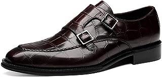 Chaussures Hommes Monk,Chaussures en cuir d'affaires classique Chaussures HASP Robe de mariée,Brown- 39/UK 6.5/US 7