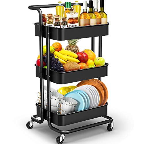 JOMARTO 3-Tier Rolling Utility Cart with Handle, Storage Cart Organizer with Lockable Wheels Makeup Cart Organizer Craft Art Cart Multi-Purpose Trolley Cart for Kitchen, Bathroom, Office (Black)