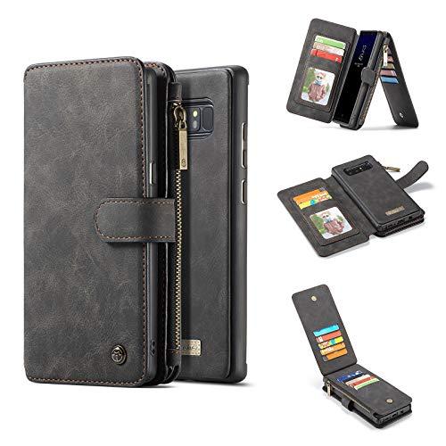 Shazikaihui kompatibel mit Samsung Galaxy Note 8 hülle Leder Schutzhülle Geldbörse, Abnehmbare Magnetverschluss Handyhülle, 14 Kartenfächer 1 Reißverschluss Münzfach für Samsung Note 8 (schwarz)