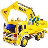 HERSITY Camiones Excavadora Juguete Grandes, Vehiculos de Construccion Coche de Fricción Juguete Playa con Luces y Sonidos Regalos para Niños 3 4 5 6 Años