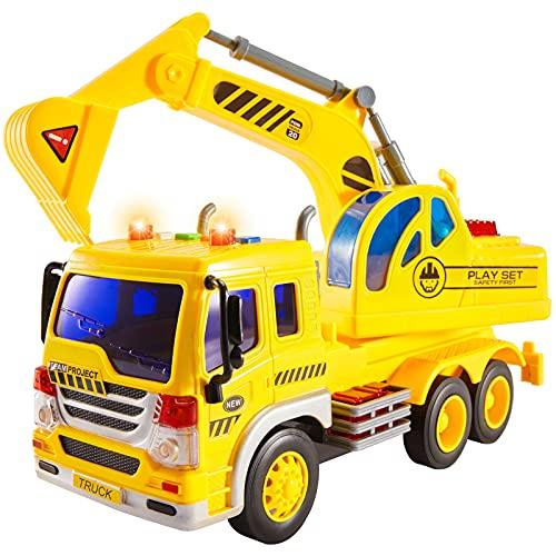 HERSITY Ruspa Giocattolo, Escavatore Camion Grande con Luci e Suoni Macchina per Maschio Bambini 3 4 5 Anni Regalo, 1/16 Scavatore