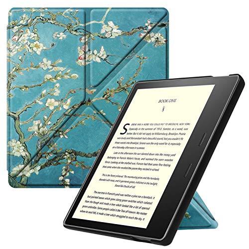 Fintie Hülle kompatibel für Kindle Oasis 10. Generation (2019 Modell) & 9. Generation (2017 Modell) - [ Origami Serie ] Schutzhülle mit Standfunktion & Auto Sleep/Wake Funktion, Mandelblüten